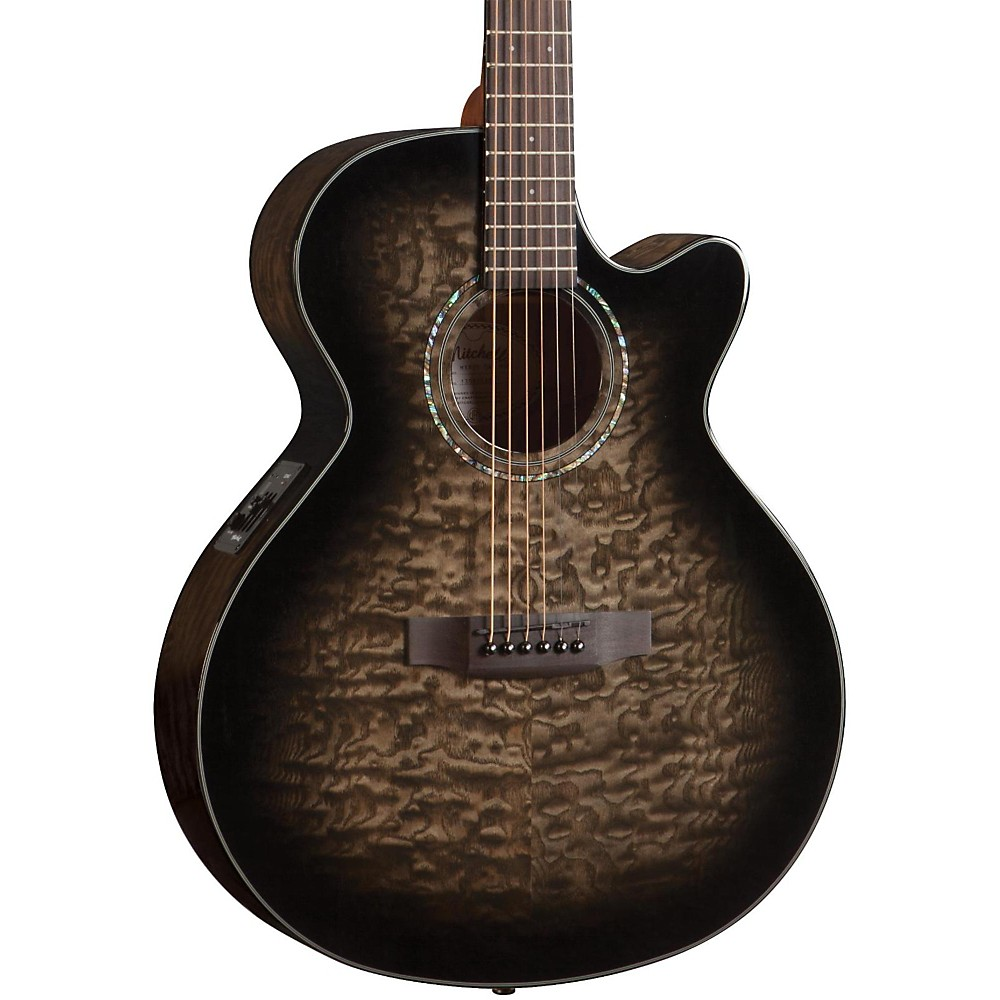 Mitchell MX420 Grand Auditorium Acoustic-Electric Guitar Midnight Black Finish by Mitchell