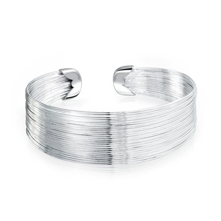 Multi Strand Thin Wire Wide Bangle Connected Stacked Cuff Bracelet For Women Silver Tone Stainless Steel