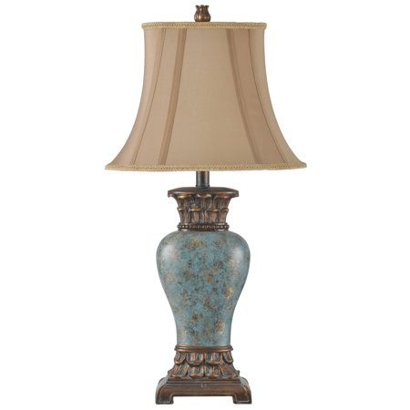 Table Lamp - Taupe Fabric Shade - Blue, Brown, Bronze, Gold