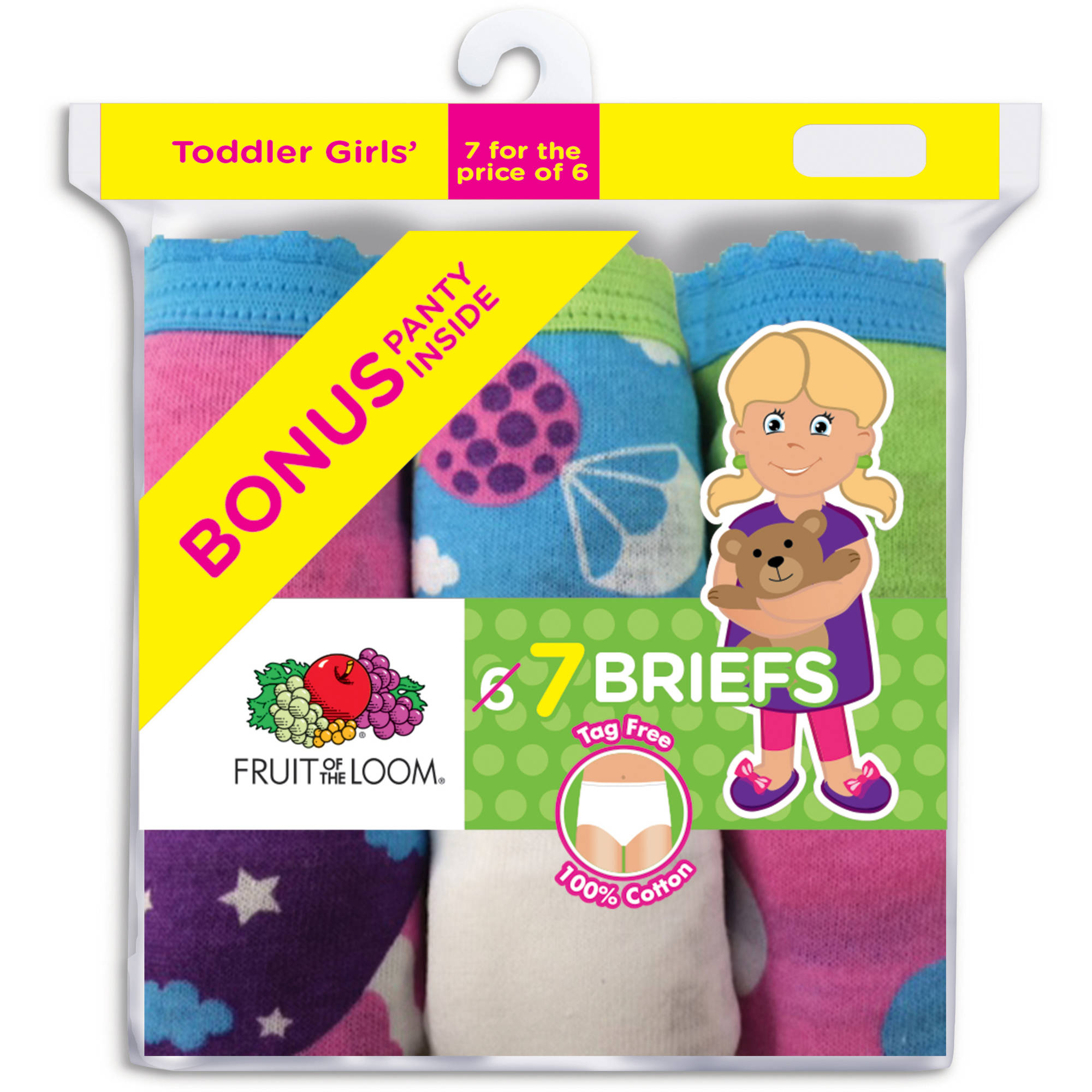 Fruit of the Loom Toddler Girls 6+1 Assorted Brief