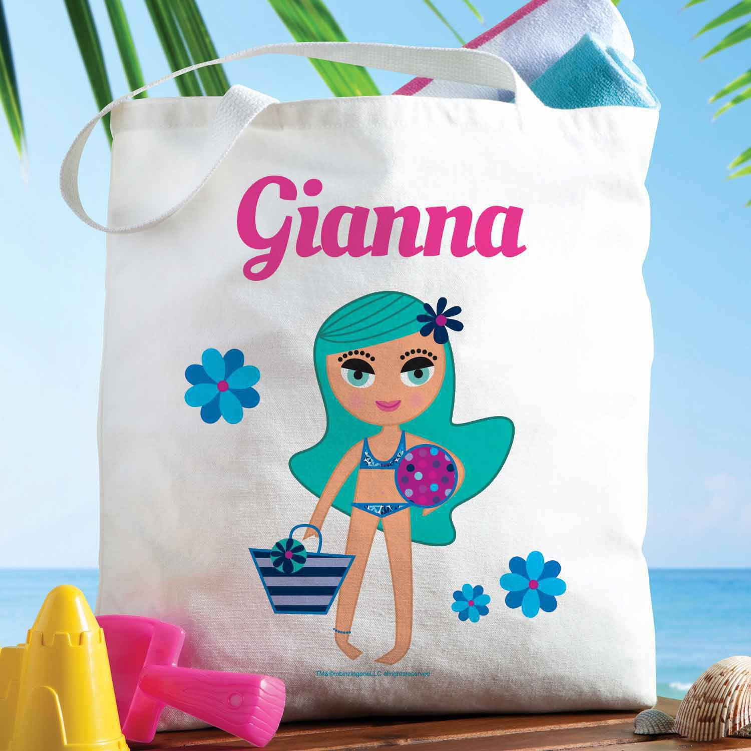Personalized Robin Zingone Beach Girl Tote Bag