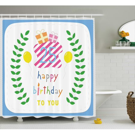 25th Birthday Decorations Shower Curtain Happiness Nature Themed Composition Pastel Presents Balloons Fabric Bathroom