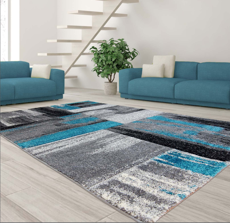 "Ladole Rugs Moda Collection Soft Elegant Copper Abstract Made in Europe Area Rug Carpet in Blue Black Grey, 5'2"" x 7'3"" (160cm x 220cm) - image 3 of 4"