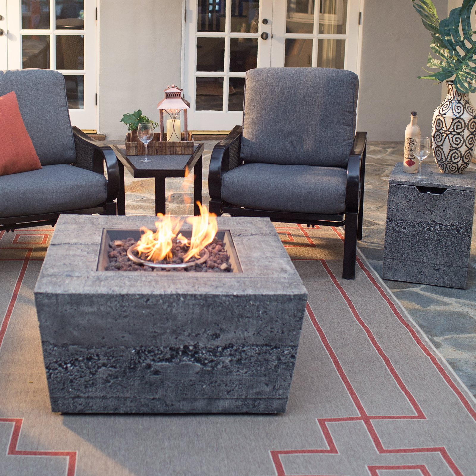 Red Ember Glacier Stone 35 in Square Gas Fire Pit Table with FREE