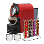 ChefWave Espresso Machine for Nespresso Compatible Capsule, Holder, Cups (Red)