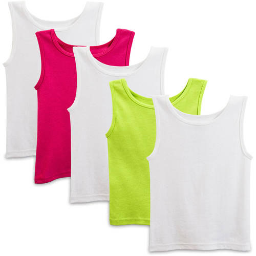Fruit of the Loom Toddler Girls 100% Cotton Layering Tanks, 5-Pack