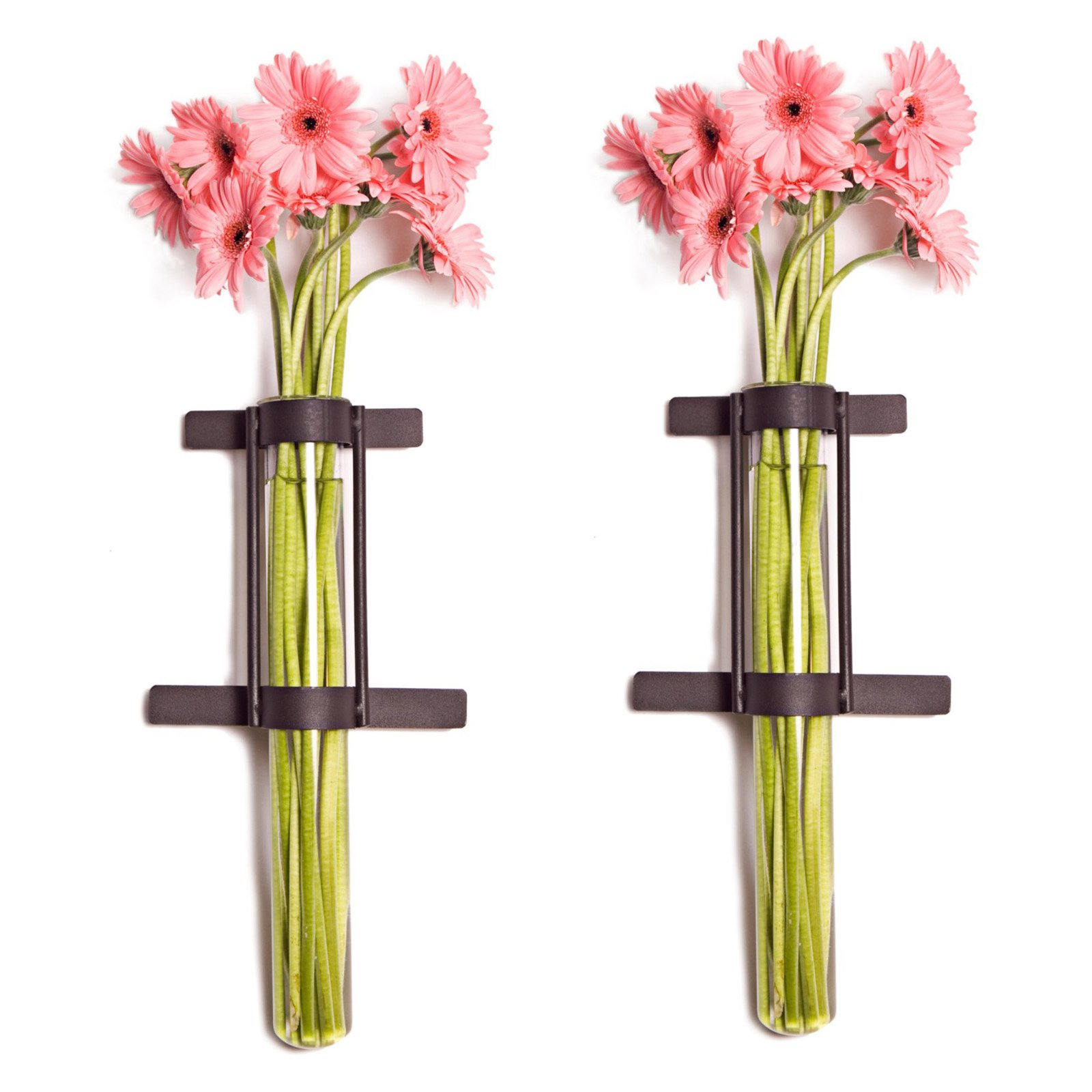 Wall Mount Cylinder Glass Vases  - Set of 2
