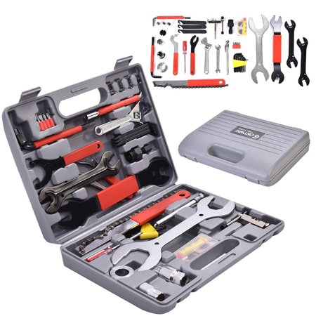 GHP 44-Pcs Multi-function Carbon Steel Bicycle Mechanic Repair Tool Kit with Case