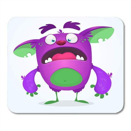 KDAGR Alien Colorful Strange Scared Funny Cartoon Monster Halloween Purple Adorable Mousepad Mouse Pad Mouse Mat 9x10 inch](Cartoon Halloween Monsters)