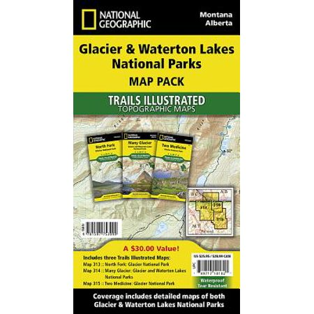 Glacier and waterton lakes national parks [map pack bundle]: