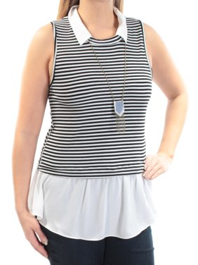 341ad7eb0e261 Product Image BCX Womens Ivory Pleated Striped Sleeveless Collared Top  Juniors Size  L