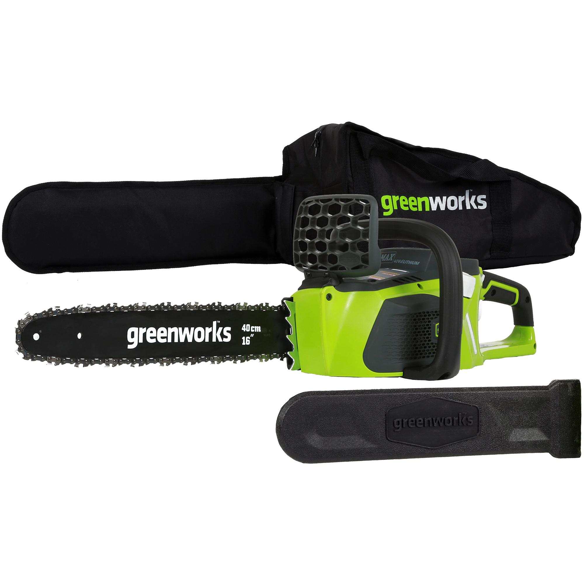 """GreenWorks 20322 40V 16"""" Brushless Chainsaw, Battery and Charger Sold Separately"""