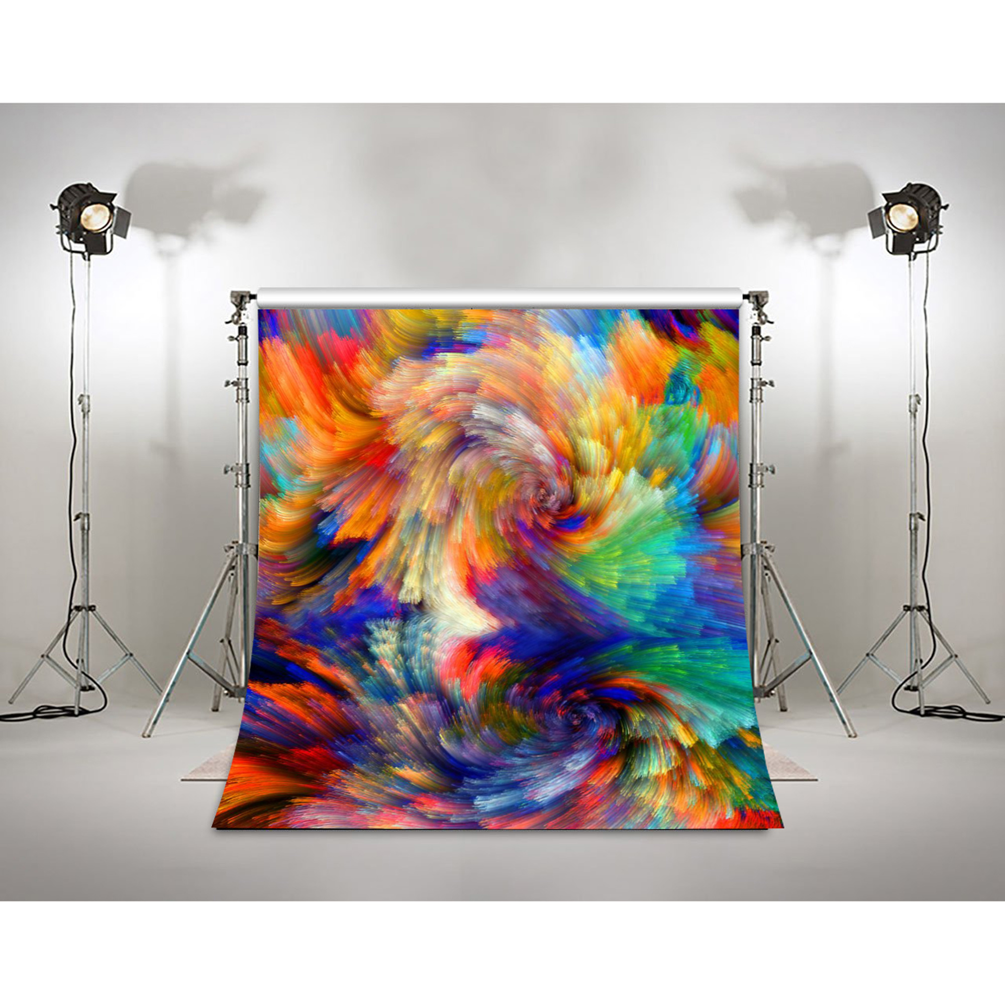 10x10FT Vinyl Wall Photography Backdrop,Colorful,Abstract Curvy Landscape Background for Baby Birthday Party Wedding Studio Props Photography