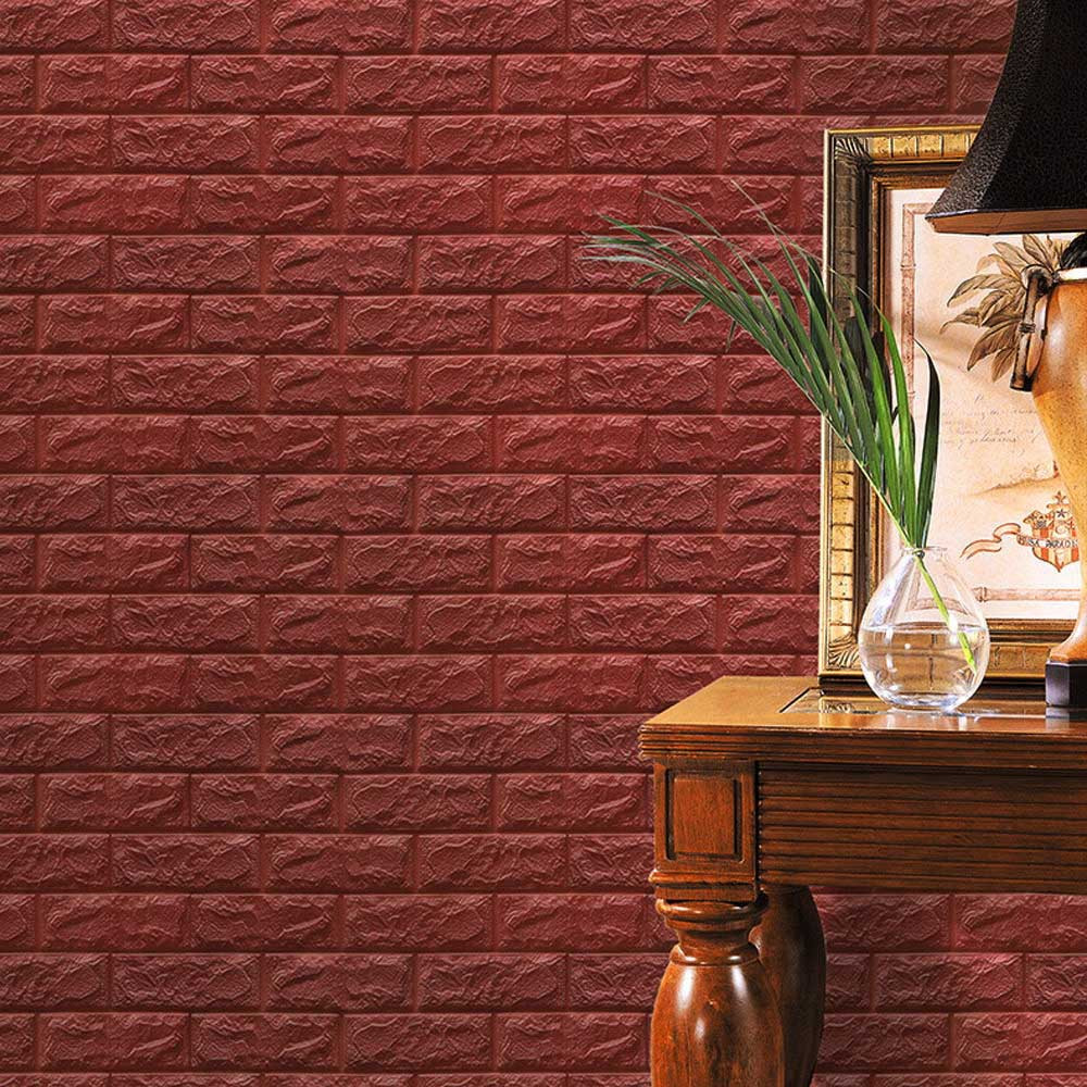 PE Foam 3D Wallpaper DIY Wall Stickers Wall Decor Embossed Brick Stone Hot Pink