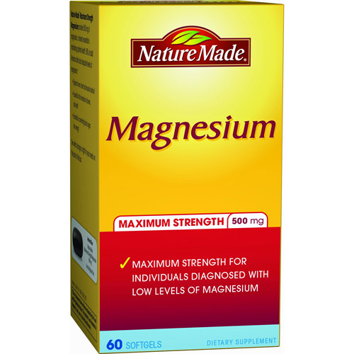 Nature Made Maximum Strength Magnesium Dietary Supplement Softgels, 500mg, 60 count