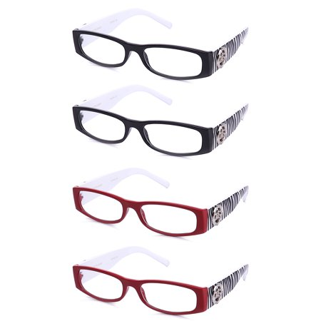 4 Pair RF9024 IG Newbee Fashion Women Fashion Reading Glasses with Zebra Print, 2 Black & 2 Brown, +1.00 (Zebra Print Glasses)