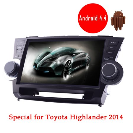Android 4 4 Kitkat Car Gps Autoradio Player For Toyota Highlander 2014 Models 10 2 Inch Hd Capacitive Touch Screen Support Mirror Link Built In Bluetooth Wifi Free 3D Map Navigation Eq Adjustable
