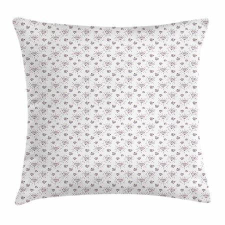 April Doodle (Diamonds Throw Pillow Cushion Cover, Hand Drawn Doodle Style Crystal Concept with Chevron Zigzag Stripes and Triangles, Decorative Square Accent Pillow Case, 18 X 18 Inches, Black White, by)