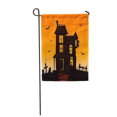 SIDONKU Orange Halloween Haunted Mansion Spooky House Blue Bats Cat Garden Flag Decorative Flag House Banner 12x18 inch](Haunted Mansion Magic Kingdom Halloween)