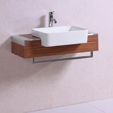- Belvedere Bath Signature Series Wall Mounted Veneer 32'' Single Bathroom Vanity Set