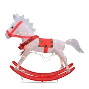 """36"""" White and Red Lighted Glistening Rocking Horse Christmas Yard Art Decoration"""