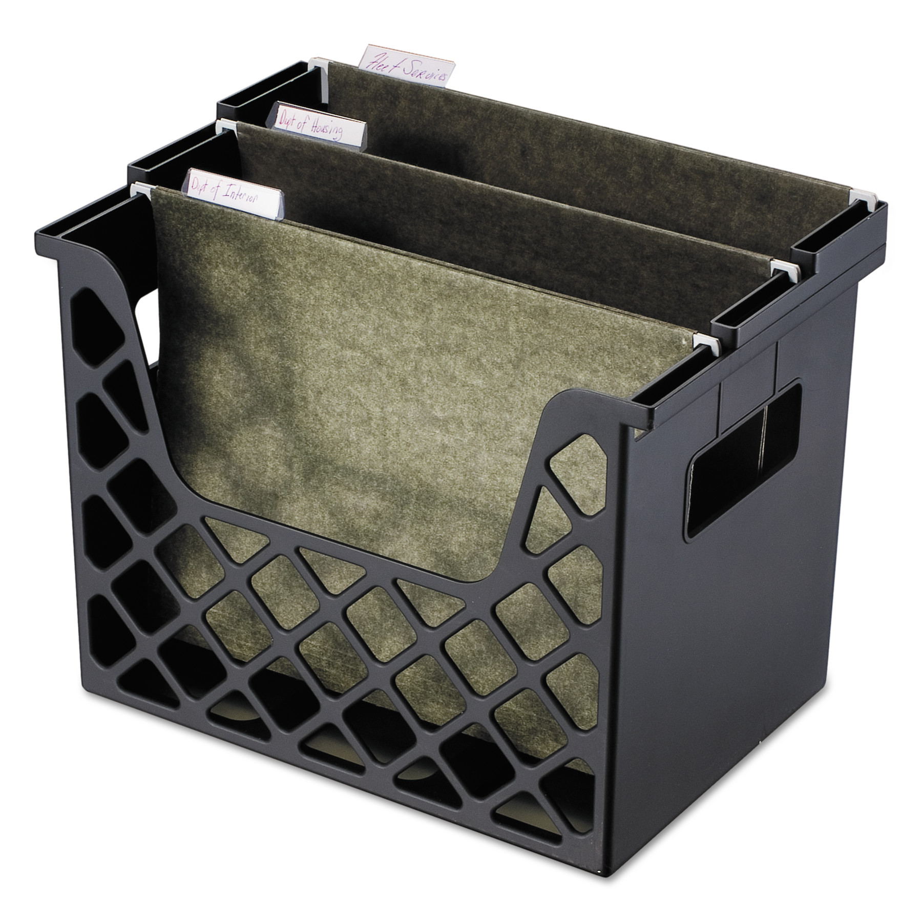 Universal Recycled Desktop File Holder, Plastic, 13 1/4 X 8 1/2 X 9 5/8, Black -UNV08123