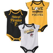 Girls Newborn & Infant Black/Gold/White Pittsburgh Pirates 3-Pack Bodysuit Set