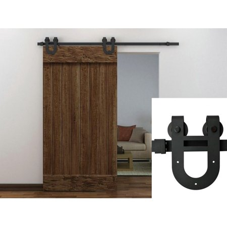 TMS 6FT European Antique Horseshoe Interior Sliding Barn Door Track  Hardware Kit Frosted Black Steel
