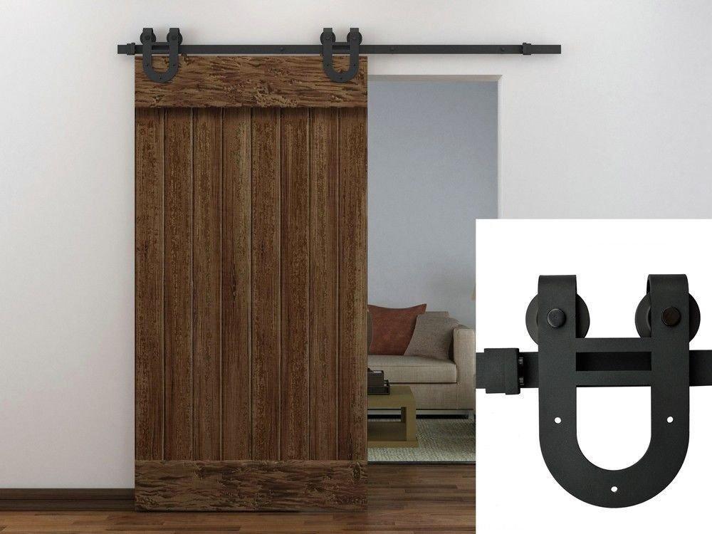 TMS 6FT European Antique Horseshoe Interior Sliding Barn Door Track Hardware  Kit Frosted Black Steel