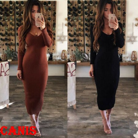 New Fashion Women Winter Knitted Sweater Bodycon V Neck Long Pencil Party Dress