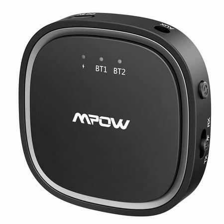 Mpow Bluetooth 5.0 Receiver Transmitter 2 in 1, 50 Feet & 12 Hours Wireless Audio Adapter, Bluetooth Transmitter for TV, Bluetooth Receiver for Hi-Fi Music Feast (aptX-LL, aptX-HD,CSR Chip,Dual Link) ()