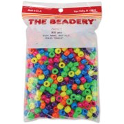Pony Beads 6mmX9mm 900/Pkg-Neon Multicolor