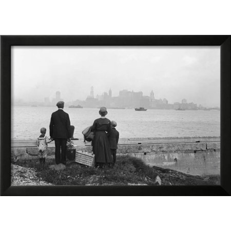 Immigrant Family Looking at New York Skyline Framed Print Wall Art ...