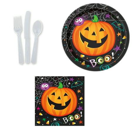 Halloween Boo Pumpkin Basic 48pc Party Tableware Set, 8 Place Settings