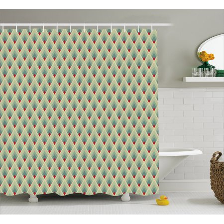Geometric Shower Curtain Mountain Shaped Upward Triangles Symmetrical Diamonds Contemporary Art Fabric Bathroom Set