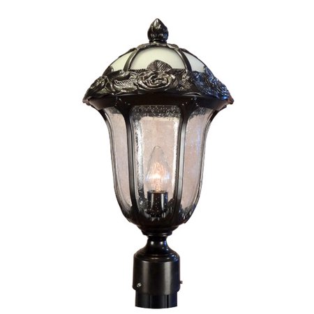 Special Lite Products Rose Garden F-2710-BLK-AB Medium Outdoor Post Mount Light with Alabaster Glass