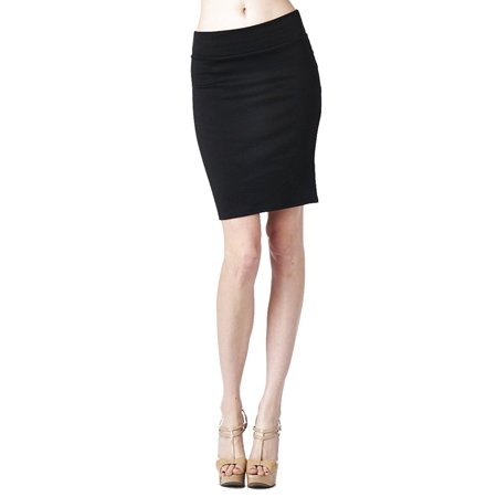 (82 Days Women'S Ponte Roma Office Wear to Casual Above Knee Pencil Skirt - Solid)