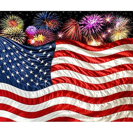 American Flag with Fireworks Fleece Throw Blanket 50