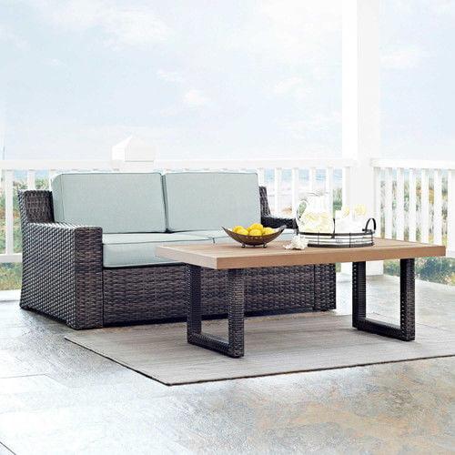 Crosley Furniture KO70097BR Beaufort 2-Piece Rattan Wicker Outdoor Seating Set (Brown/Mist)