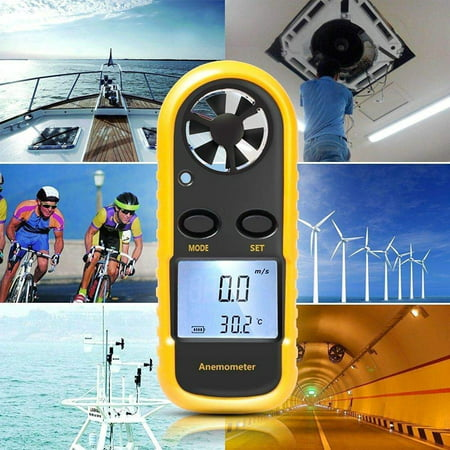 FeelGlad Anemometers Handheld Wind Speed Meter Portable Wind Gauges Air Flow Thermometer with LCD Backlight for Windsurfing Kiteflying Sailing Surfing Fishing