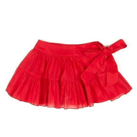 Azul Little Girls Red Solid Color Tie Sash Cotton Ruffled Swimwear Skirt](Girls Red Skort)