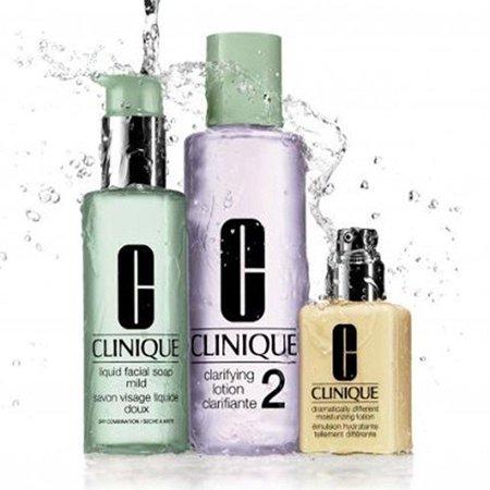 (clinique 3 steps system for dry / dry combination skin set: dramatically moisturizing lotion 4.2 oz / 125 ml + clarifying lotion 2 13.5 oz / 400 ml + liquid facial soap mild 6.7 oz / 200 ml)