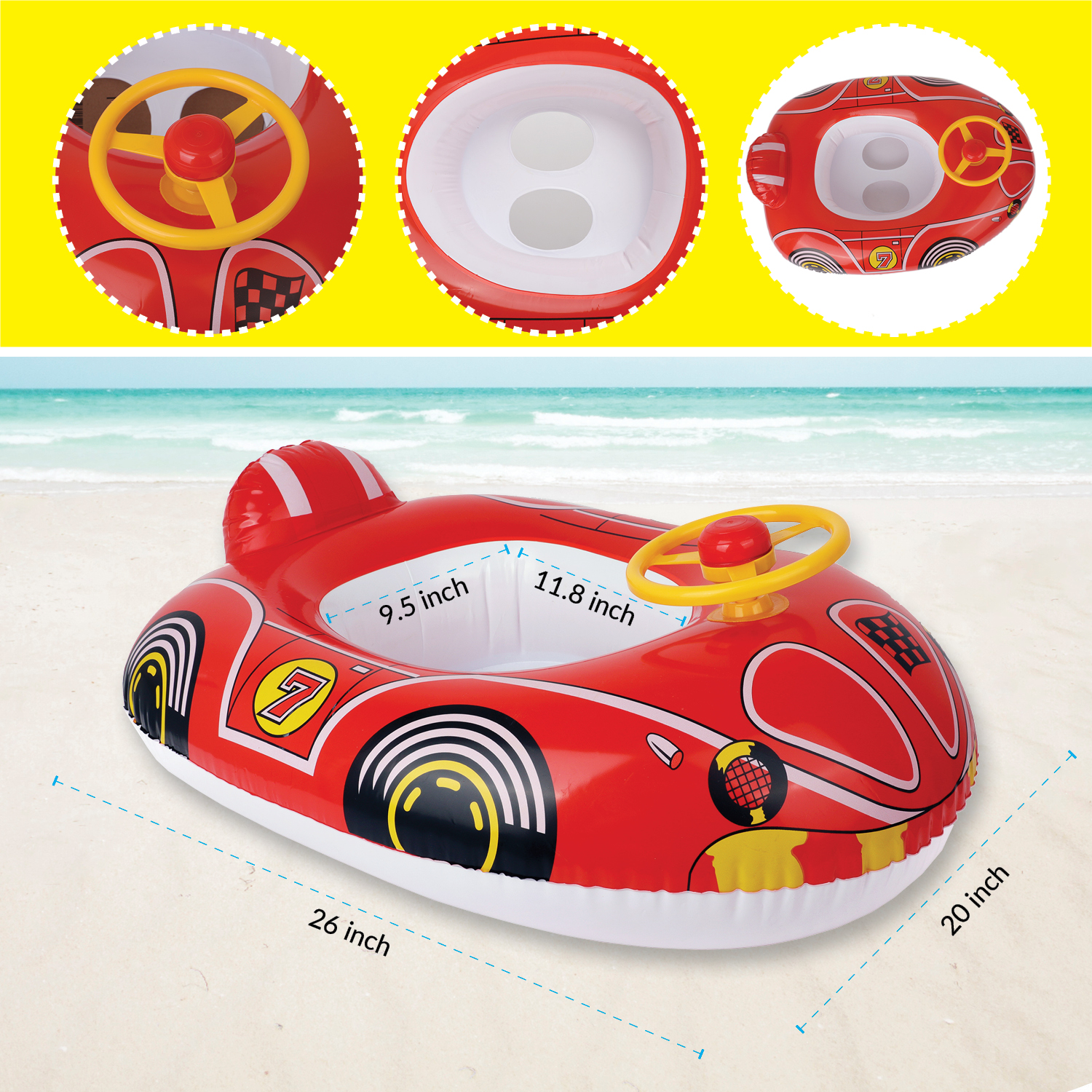 Fire Truck aquablu Inflatable Baby Seat 24 Yellow Summertime Safety Float for Pool Beach Lake Bay /& More Comfortable Floating Support /& Solid Bottom for Toddlers Ages 1-2 Years
