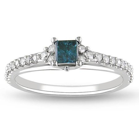 1 Carat Princess Cut Real Sapphire and Diamond Engagement Ring in 18k Gold Over Silver