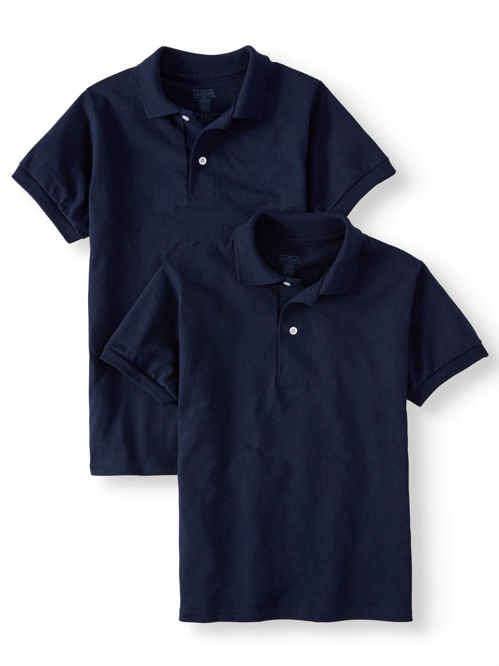 Boys' SpotShield Short Sleeve Polo Sport Shirt, 2 Pack