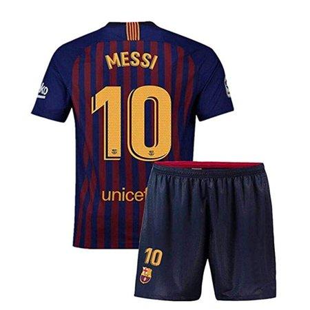Barcelona 10 Messi Home Soccer Jersey & Short Set 2018/2019 Blue ()