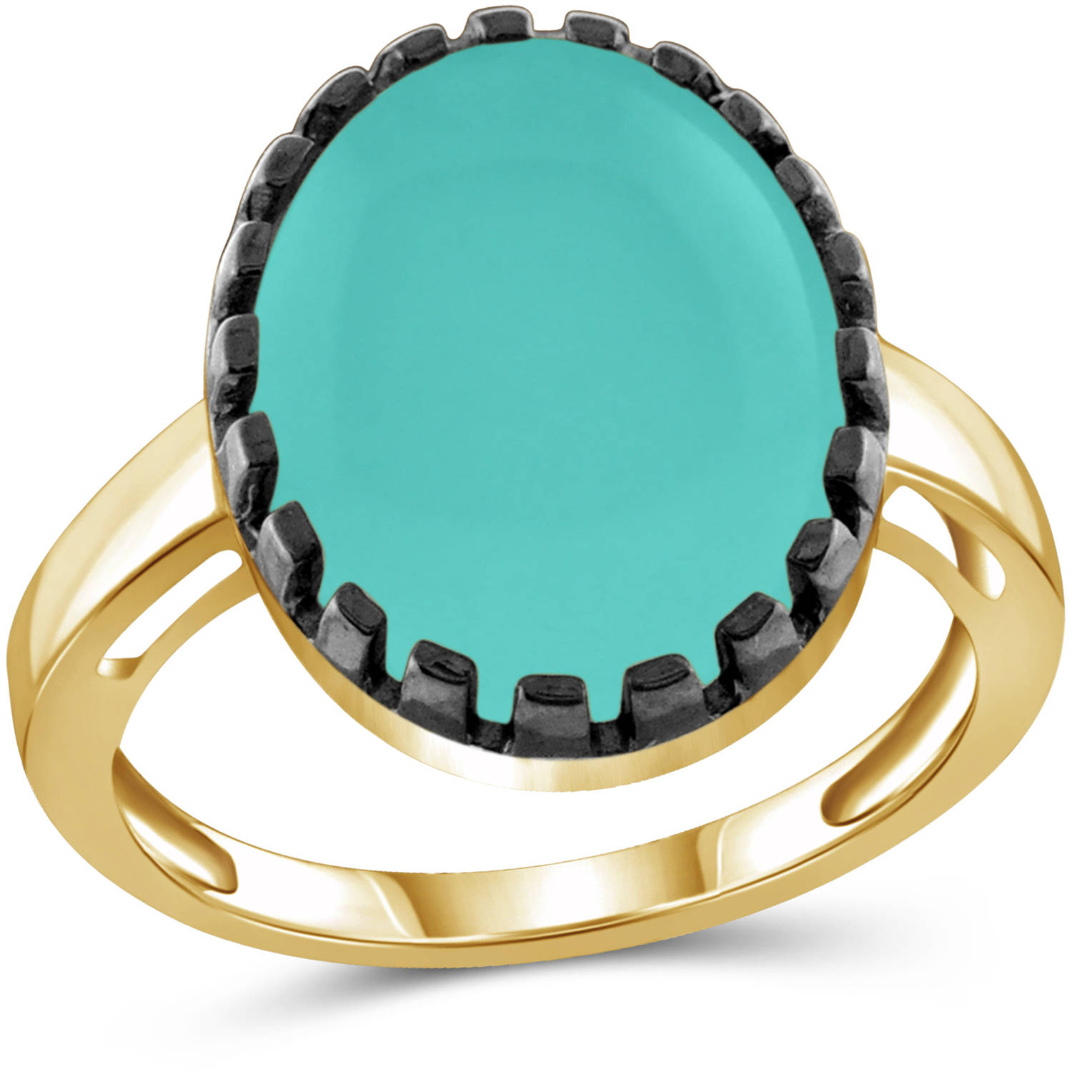 JewelersClub 9-3 4 Carat T.G.W. Chalcedony 14kt Gold over Silver with Black Rhodium-Plated Fashion Ring by JewelersClub