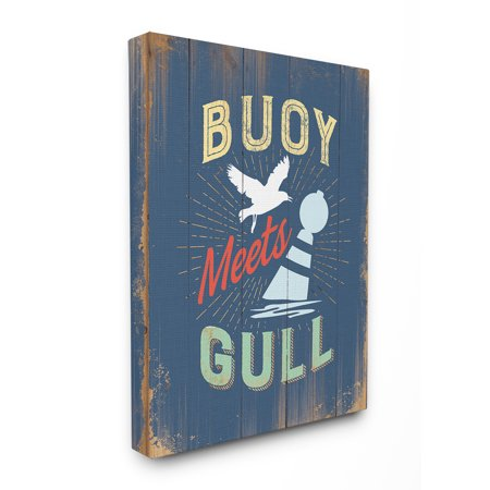 The Stupell Home Decor Collection Buoy Meets Gull Humor Stretched Canvas Wall Art, 16 x 1.5 x 20 Collection 16' Wide Wall