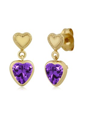 51493bcad Free shipping. Product Image Heart Shape Purple Zirconia Brass Yellow Gold  Plated Brass Earrings