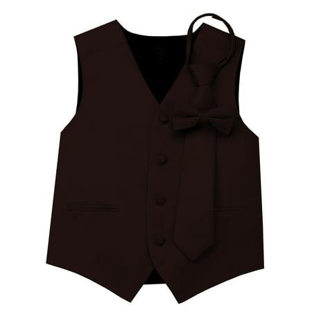 Italian Design, Boy's Tuxedo Vest, Zipper Tie & Bow-Tie Set -